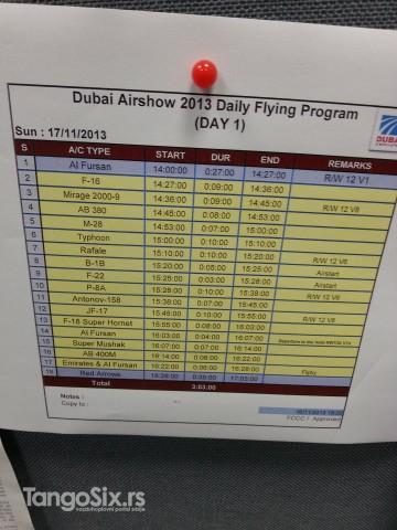 Letački program prvog dana. Otkazan zbog peščane oluje.