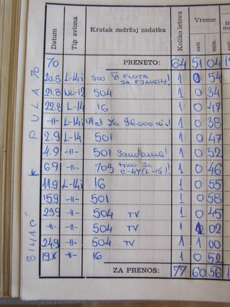 """Ovo je stranica iz knjižice naleta u kojoj, uz let od 22. 8. 1970. stoji moja napomena """"Let za 36.000 din."""" Znači izgubio sam 10 letačkih dana tj. trećinu letačkog dodatka (koji je tada bio, valjda oko 108.000 din). Iznad toga, na vrhu stranice upisano je i 20.8. let nad 6. flotom - u zagradi piše """"sa Fjakom""""."""