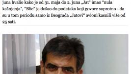 Blic: Vukašinović slagao da avioni nisu kasnili