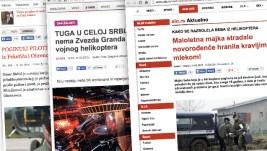 Izveštavanje domaćih medija o helikopterskoj nesreći